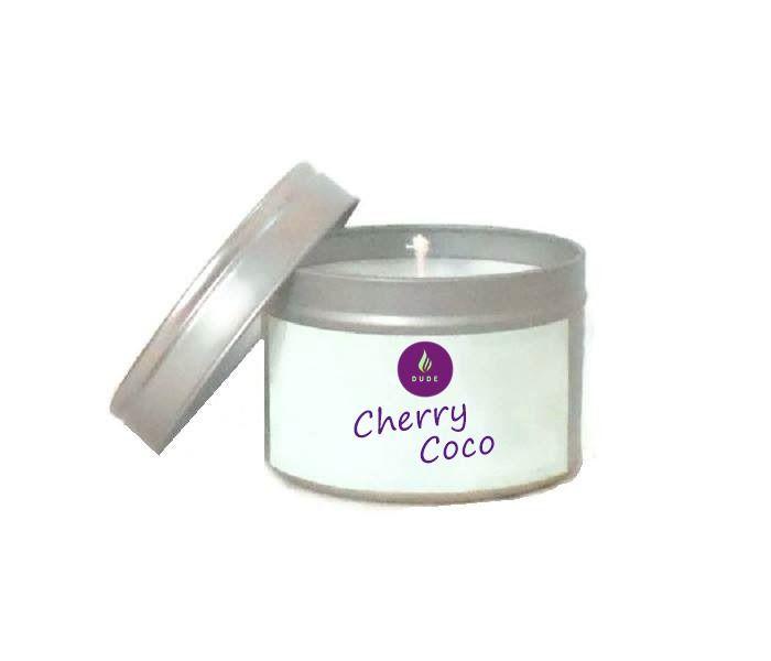 Bougie Parfumée Cherry Coco Boîte Métal Verte Cire Végétale Bougie Naturelle Candle Made in france : Luminaires par fondants-de-cire-parfumes-dude-bougies