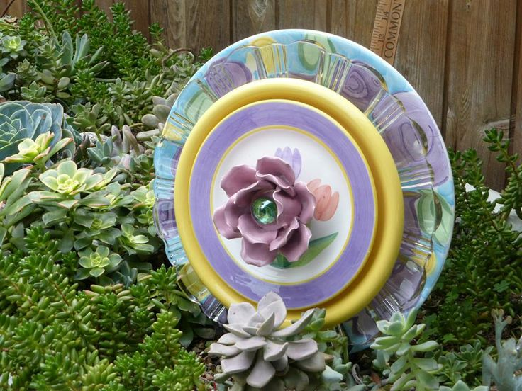 Plate Flowers 299 Drought Resistant Garden Yard Art