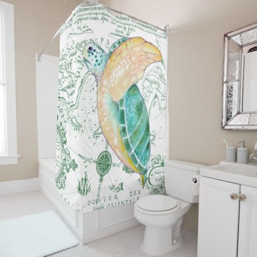 Sea Turtle Vintage Green Shower Curtain