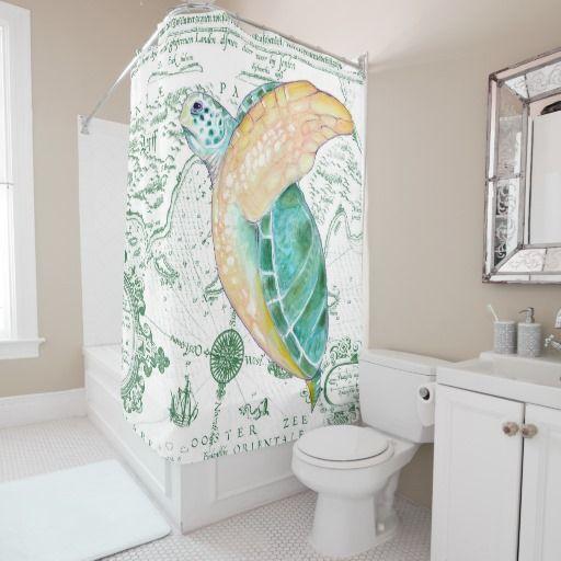 Sea Turtle Vintage Green Shower Curtain
