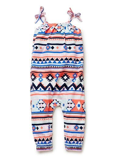 Cotton/Elastane blend jumpsuit. Jersey jumpsuit with gathered neckline and tie straps. Features all-over aztec print. Available in colour shown.