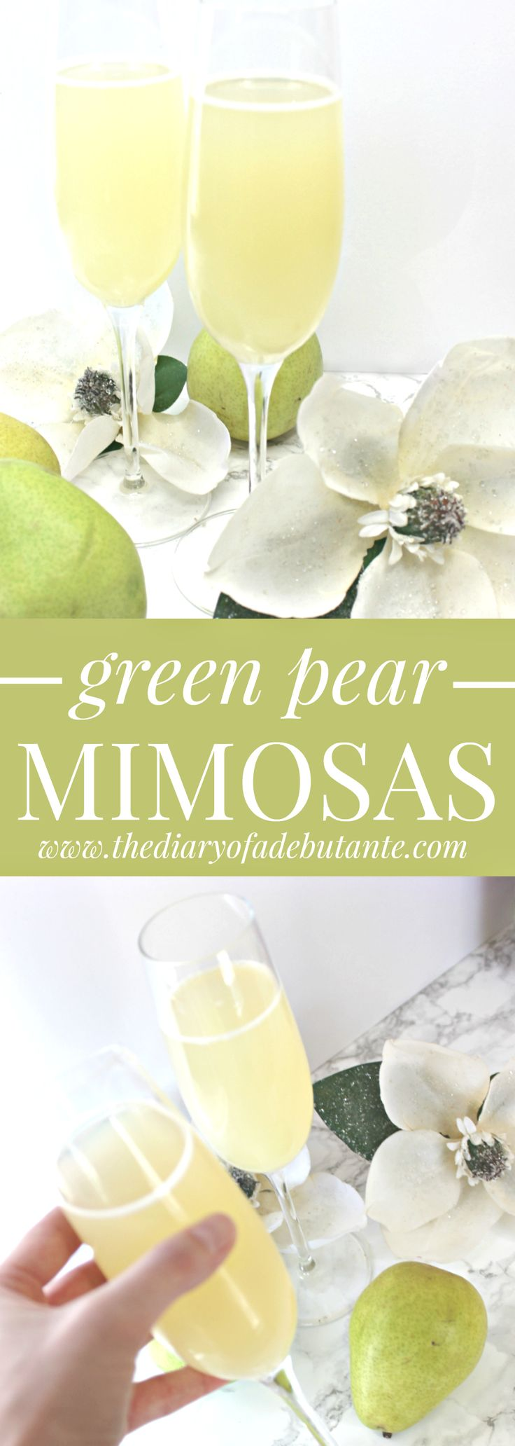 Delicious and healthy green pear mimosa recipe using pear nectar instead of juice