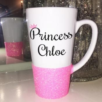 Name Princess Glitter Latte Mug