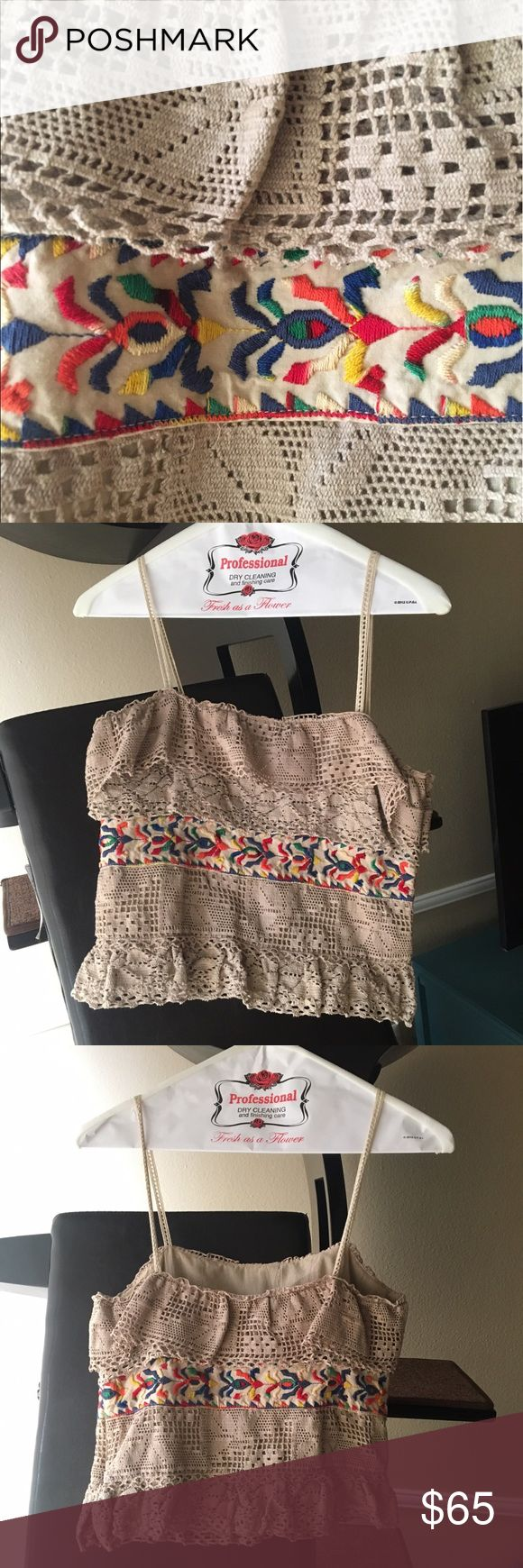Boho chic Anna Sui lace embroidered crop top Embroidered and fully lined. Crocheted. Side zipper. Boxy fit. Delicate straps. Perfect summer top to pair with distressed denim shorts or crisp white pants. Anna Sui Tops Crop Tops