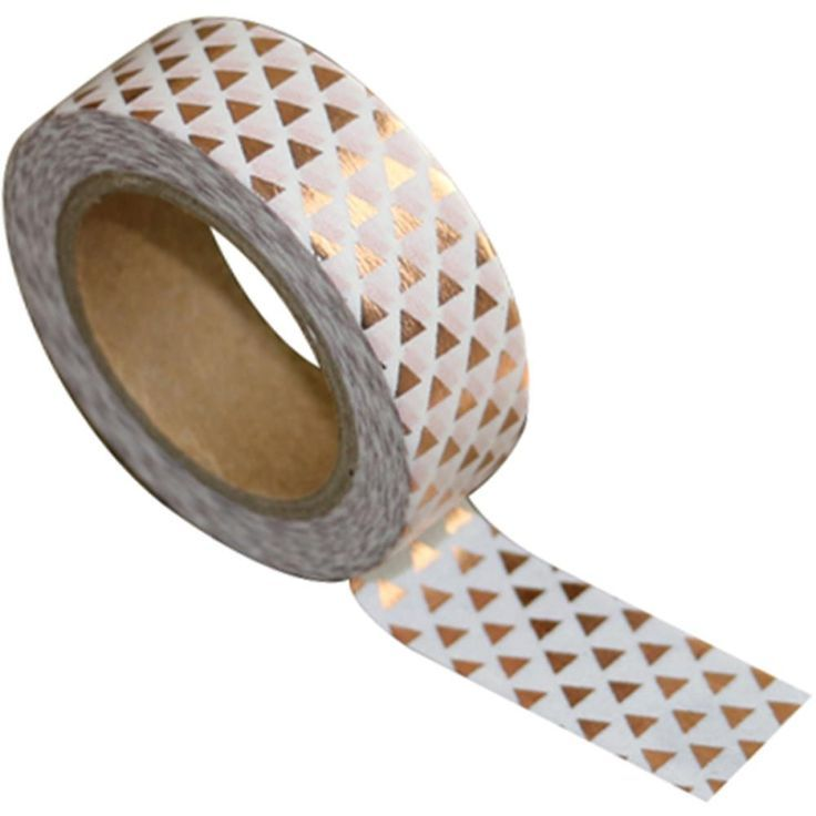 Rose Gold Triangles on White Washi Tape by Love My Tapes, 15mm x 10m