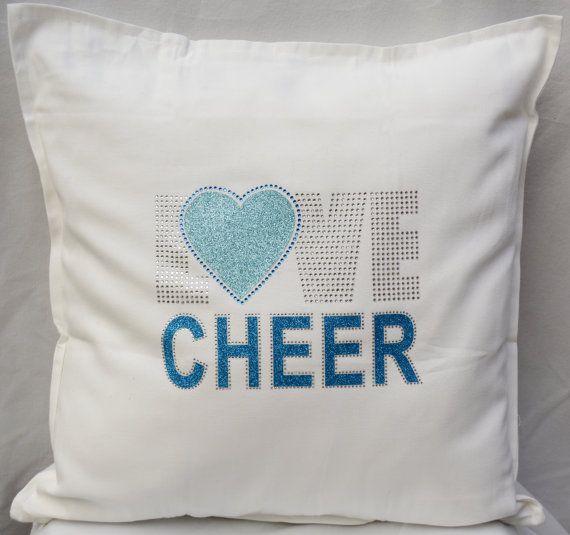 Cheerleading pillow, Love Cheer, sparkly pillow, cheer cushion, cheerleader bedroom, girls bedroom decor