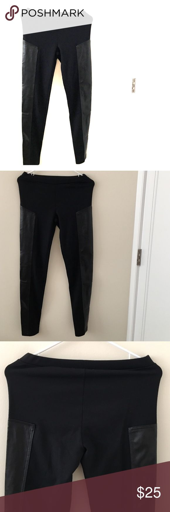 """Trouvé Faux Leather Panel Leggings Black size M Worn Faux-leather panels in a tonally matched shade coolly detail the outer legs of sleek leggings shaped from a dense ponte knit. Elastic waist. Polyester/rayon/spandex; machine wash. Approx. inseam: 30"""". Any questions please ask smoke free home Trouve' Pants Leggings"""