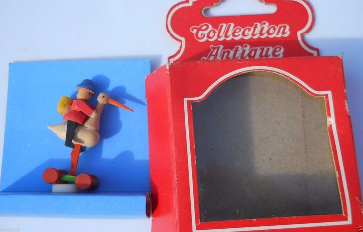 "Bodo Hennig Toy Man on Bird Rare Vintage Dollhouse w/box 1.75"" Antique Collectio 