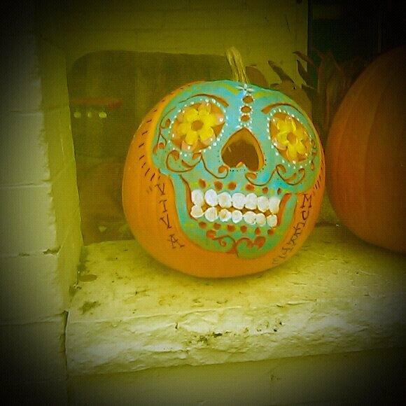 Sugar skull pumpkins | All Hallows' Eve | Pinterest