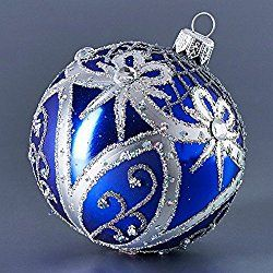 Blue ball with silver ribbons Christmas ornament