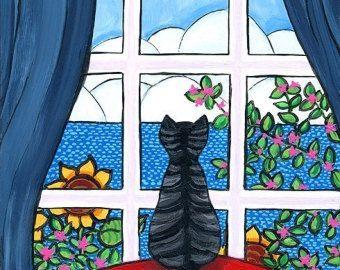 Drie kat Quilt maanlicht bed-print Shelagh Duffett