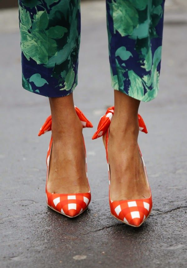 Orange gingham pumps and palm pant