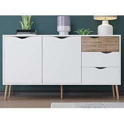 Top this streamlined sideboard with a pair of earthy potted plants for an eco-friendly den look, or add it to the entryway to let its 5 drawers stow out-the-door essentials, catch mail, and more. Flashback for a functional future. Alluding a retro modern charm, this sideboard table features two large drawers and three smaller drawers with grooved cut out handles. Ideal for any space that needs storage, the sideboard has ample room without being short on style. The light and airy color…