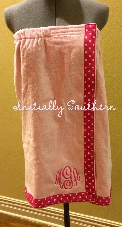 Monogrammed Towel Wrap with Ribbon by initiallysouthern on Etsy