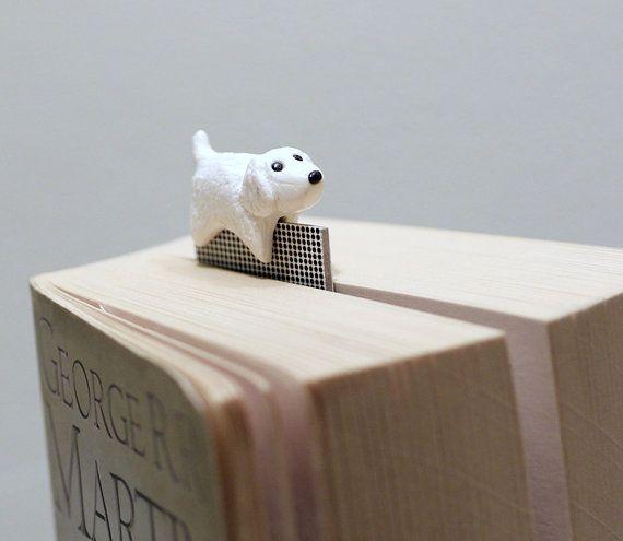 White dog bookmark maltese or similar pup polymer by NellinShoppi, €20.00