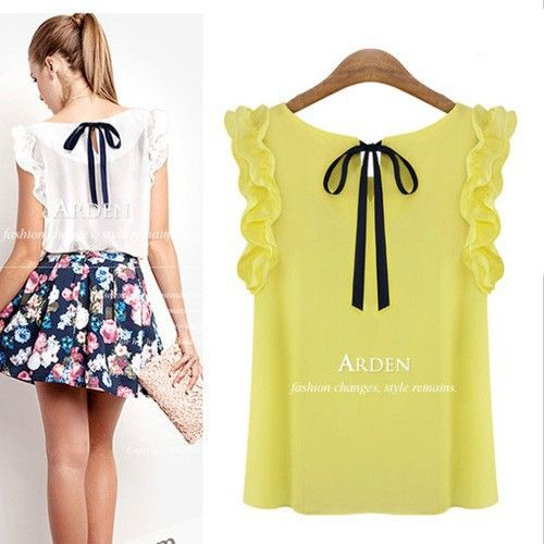 s10-b S-XL New 2014 women's o-neck lotus leaf pullover lacing bow chiffon shirt top women's blouse Freeshipping