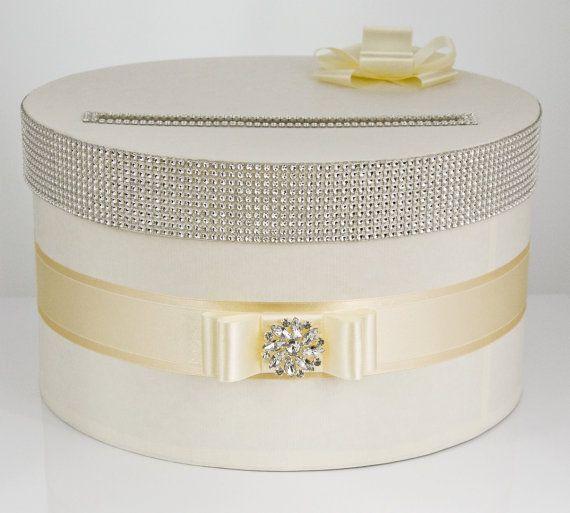 Card box / Wedding Box / Wedding money box - ecru/gold via Etsy