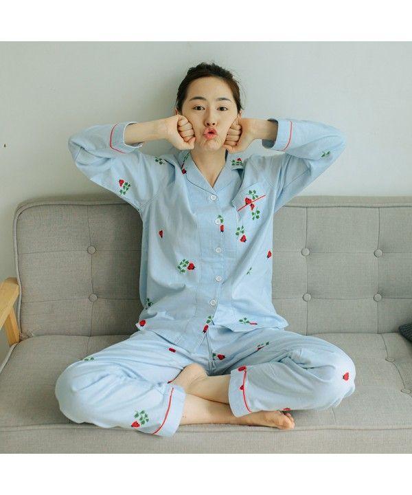 Long Sleeved Plus Size Lady S Pure Cotton Pajama Set Printed Cotton Softest Pyjamas Thời Trang