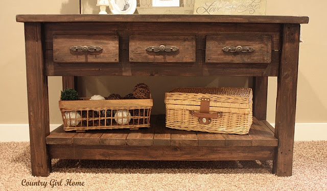 DIY table shelf - I would love to do this in our hall bathroom.  Shelf above it included!!  Decorations also! :)