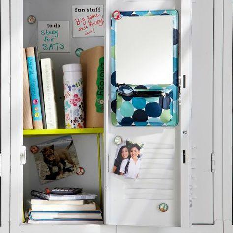 Gear-Up Blue Pop Dot Locker Mirror/Zipper Pouch | PBteen