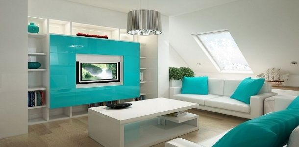 Turquoise Blue and White Living Room Furniture