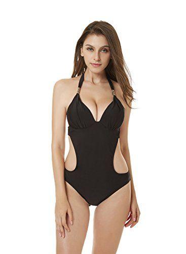 d0cc2999920d YICHUN Femme Maillot de Bain 1 Pièce Maillot de Corps Push Up Bikini Plage  Dos Nu Tankini Paréos Beachwear Trikini (L Noir)
