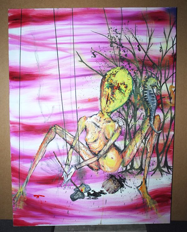 What is clear is that this work comes from the troubled mind of Cobain at the height of his addiction. Painted in 1993, during the recording of Nirvana's last studio album, In Utero, they illustrate the young genius' fascination with decay, conception, nourishment, and waste. We've seen the figures in these paintings before: