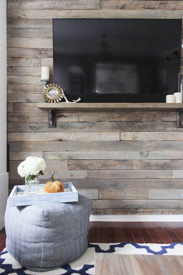 How to build a pallet accent wall in an afternoon. Includes tips on safe pallets to use, and building wire pathways for mounting a TV.
