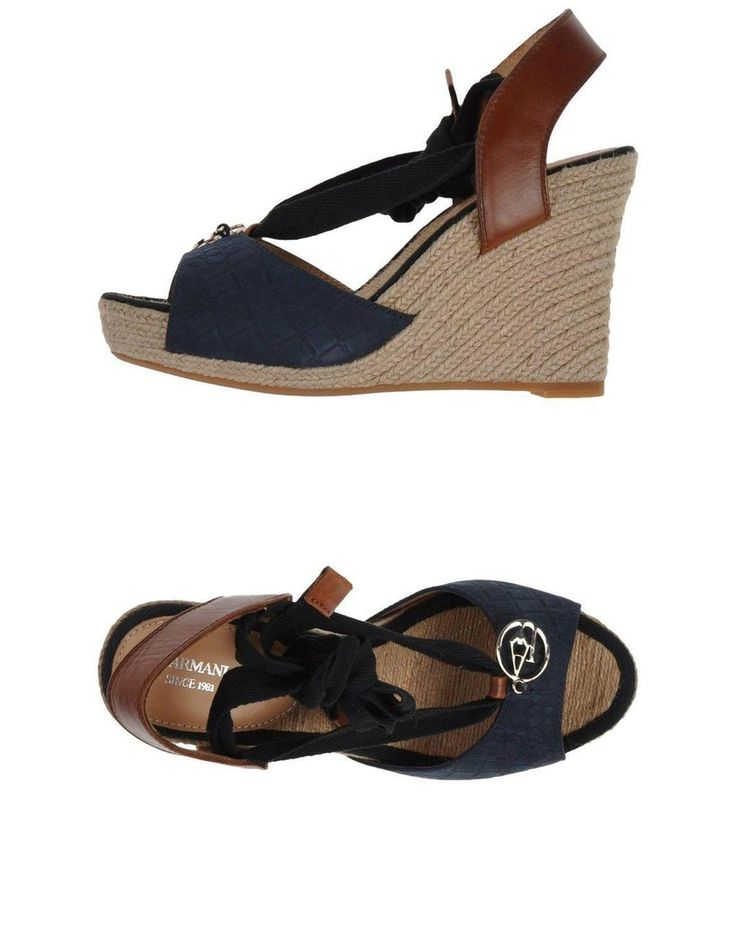 Armani Jeans Ladies Espadrilles In Dark Blue - Grabells