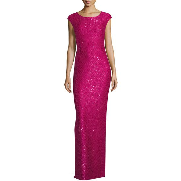 St. John Collection Hansh Sequined Knit Cap-Sleeve Gown (10.050 DKK) ❤ liked on Polyvore featuring dresses, gowns, scarlet, st john gowns, purple sequin dress, sequin evening dresses, cap sleeve gown and knit dress