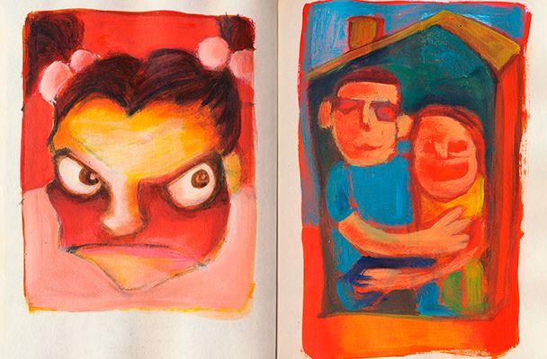 'Samenwonen' Illustratie uit Dummy 5. By Hilda Groenesteyn / studio Hille