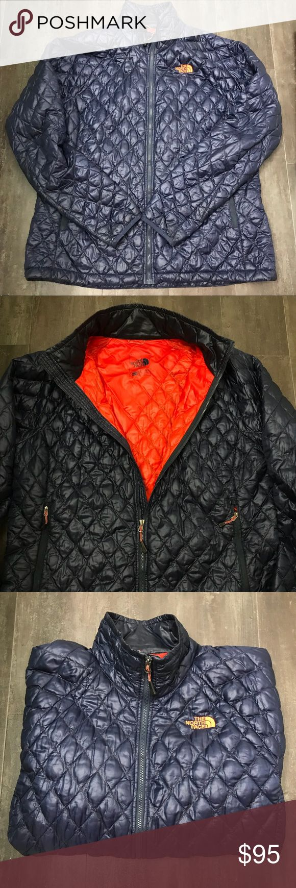 The North Face Thermoball Jacket Navy The North Face Jacket  Only worn a few times  Navy with orange inside Drawstring Waist The North Face Jackets & Coats