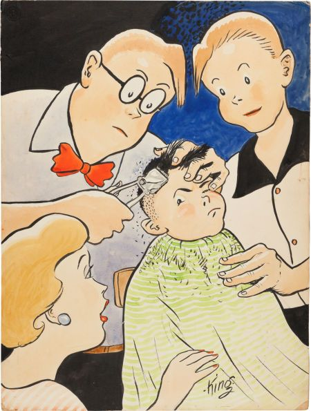 "Frank King Gasoline Alley Illustration Original Art (undated). A circa 1932 scene at the Wallet household has ""Uncle"" Walt giving his reluctant young son Corky a haircut, while adopted son Skeezix and wife Phyllis look on."