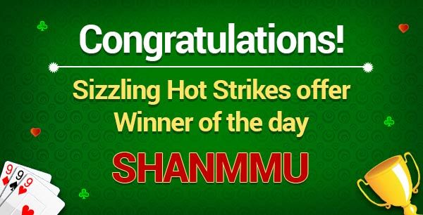 """Winner of the day:""""SHANMMU""""  Congratulations! You are the winner of the Sizzling Hot Strikes offer. Prize Won: Rs.2000 worth flipkart vouchers  Hurry!Don't miss the chance to be a winner at classicrummy.  Know more about the offer @ https://www.classicrummy.com/sizzling-hot-strikes?link_name=CR-12  #rummy #classicrummy #flipkart #winner #flipkartvouchers #vouchers"""