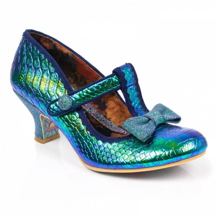 Bedazzle on the dance floor with Lazy River! These iridescent mermaid blue  green mid heeled stunners featuring t-bar straps and pretty glitter bow  trims are ...