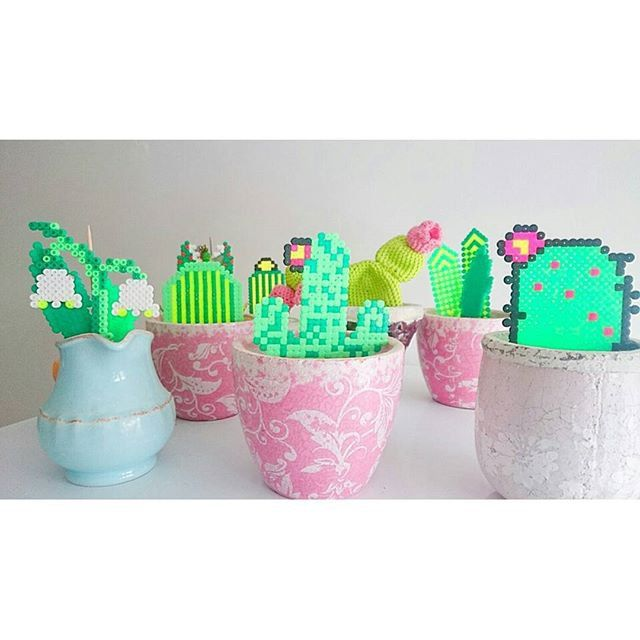 Une collection de cactus en perles Hama