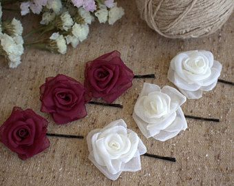 Burgundy Marsala Rose hair bobby pin,Ivory Rose hair bobby pin,Bridal bridesmaids Hair Pins,Wedding hair bobby pin,Woman girl Rose hair pin