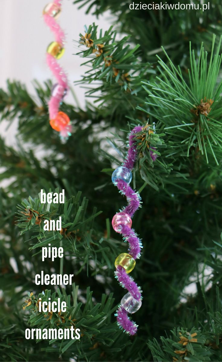bead and pipe cleaner icicle ornaments for kids