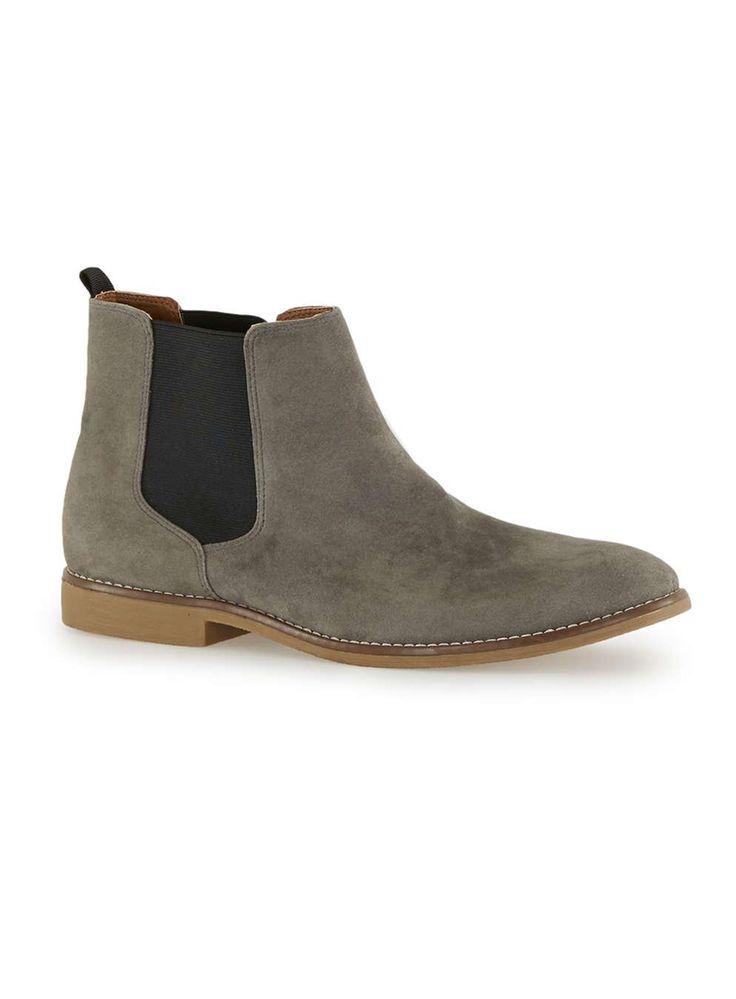 Topman Grey Faux Suede Chelsea Boots