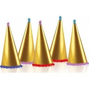 Coiffes cotillon de fête métallisées deluxe or et bleu nuit assorties pour 5 personnes.