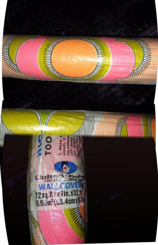 Vntg 60s Retro/Mod Flower Power Wallpaper Full Sealed Roll United Desoto Chicago