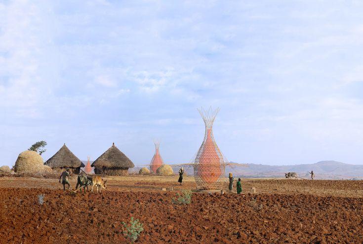 Galería de Proyecto WARKA: Torres de bambú que recogen agua potable del aire - 1