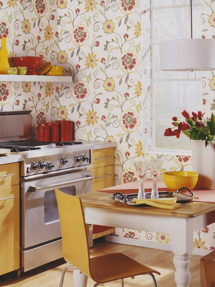 Cheerful and bright wallpaper for the kitchen http://lelandswallpaper.com.  Width: 20.5 in  Repeat: 20.5 in.  Length: 15 ft (SINGLE ROLL)  pre-pasted, washable, strippable, solid vinyl.  white background with faded yellow and red floral scroll $19.99 per single roll