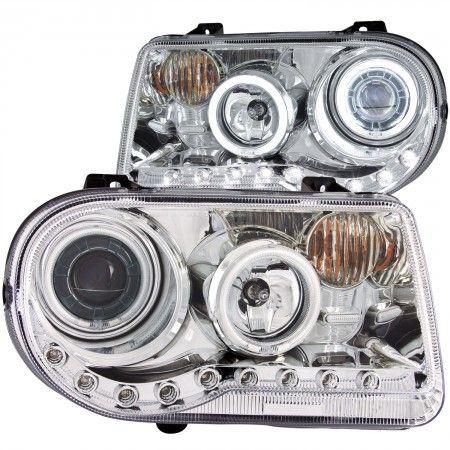Anzo 121250 | 2006 Chrysler 300 Chrome/Clear CCFL Halo Projector Headlights for Sedan