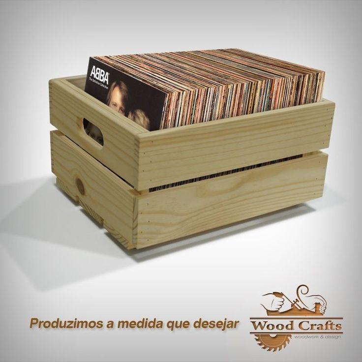 Caixotes para Disco de Vinil - (LPs) - Wood Crafts - 50x35-30cm