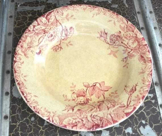 French Antique Tea Stained Plate by shabbyfrenchvintage on Etsy