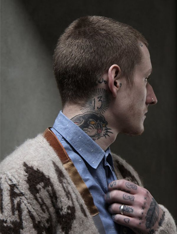 : Fashion Men, Polka Dots, Ink Tattoo Body, Men Style, Neck Tattoo, Men Fashion, Cozy Sweaters, Skin, Hipster Men