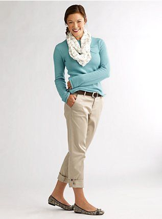 I have similar pants, and an aqua sweater that I love love love. Just need ballet flats that fit and a pale fluffy scarf.