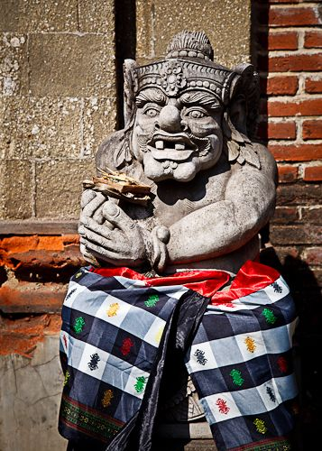 Balinese Guardian Statue dressed in Poleng textile