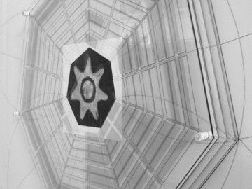 Michele Guido _Studio per Tempio di Venere da Hypnerotomachia Poliphili 2011/2013 print on backligth, b/w on Ilford paper, plexiglas, laser, forex, wood, chalk. cm 260 x 260 x 7 _ed 1 + 1 ap